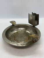 "Vintage Silver Plate On Brass 5.5"" Diameter Round Ashtray With Match Holder"
