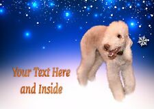 BEDLINGTON TERRIER CHRISTMAS CARD Personalised & Illustrated inside too  A5 size