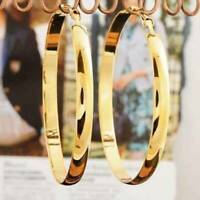 LARGE STATEMENT CHUNKY Round Circle LEVER BACK GOLD TONE HOOP EARRINGS UK