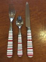 Colorful Flatware- Red, Gray and White Stripes