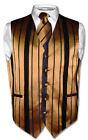 Men's Dress Vest & NeckTie GOLD & BLACK Color Woven Striped Design Neck Tie Set