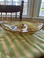 Vintage Art Deco Amber Glass Footed Dish Bowl Pressed Glass Centerpiece 10""