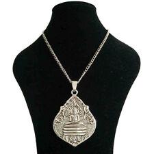 Large Silver Thai Meditation Buddha Buddhist Amulet Pendant Long Chain Necklace