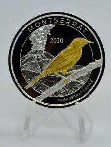 1 OZ Silber Montserrat Oriole 2020 mit Goldapplikation gilded