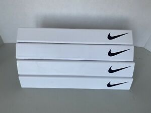 4 Nike Shoe Slat Wall Display Shelves White Plastic Jordan Black Swoosh AF1