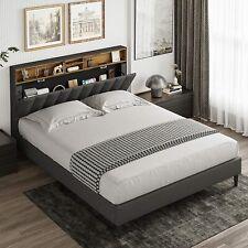 Full/Queen Size Bed Frame Metal Platform with Headboard Bedroom Vintage Style