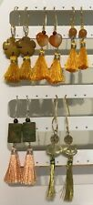 Yellow, Peach or Gold Tassel & Stone Bead Dangle Earrings on Plated Wires.