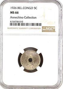 Belgian Congo 1926 5 Centimes NGC MS66 KM# 17