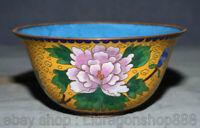 Bol à fleurs pivoine de 6,2 po, vieux chinois, palais cloisonné, cuivre