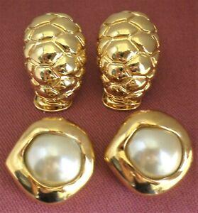 KJL KENNETH JAY LANE GOLD TONE & SIM PEARL CLIP ON EARRINGS TWO PAIRS