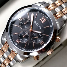 NEW BULOVA MENS TWO TONE ROSE GOLD CHRONOGRAPHWATCH RRP £249