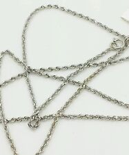 "14k White Gold Diamond Cut Twist Rope Chain 18"" 1.25mm"