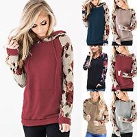 Womens Hoodies Long Sleeve Sweatshirt Casual Jumper Sweater Hooded Floral Tops