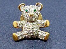 Genuine Swarovski Swan Stamp Teddy Bear Crystal Pin Gold Green Eyes