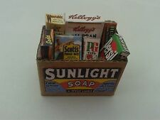 1/12 Scale - Sunliight Grocery box  with Grocery packets dollshouse miniatures