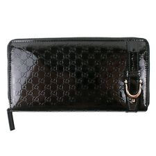 100% Authentic Gucci GG Guccissima Black Patent Leather Zip Around Long Wallet
