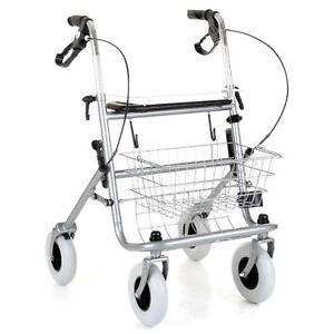 Orbit Rollator Folding Walking Frame 4 Wheeled Walker w/ Seat and Basket