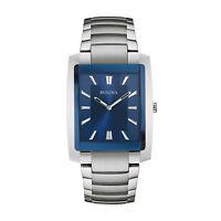 Bulova Classic Men's 96A169 Quartz Blue Dial Rectangle Case 35mm Bracelet Watch
