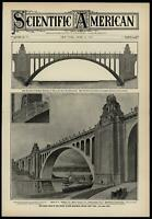 Hudson river memorial bridge great arch 1908 Scientific American cover print