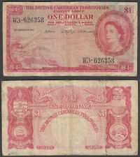 British Caribbean 1 Dollar 1961 (F) Condition Banknote P-7 QEII