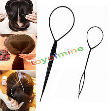Plastic Magic Topsy Tail Hair Braid Ponytail Styling Maker Clip Tool Black 2pcs
