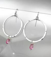 CHIC Artisanal Silver Ring Pink Tourmaline Crystal Earrings