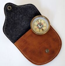 Brass Compass Leather Case Flat Pocket Compass Magnetic Navigation Great Gift
