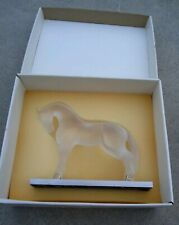 Lalique Crystal Vintage Siglavy Horse On Stainless Metal Base w/Original Box