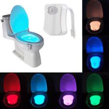 8 Colour  Motion Sensor Automatic LED NIGHT LIGHT Toilet WC  Lamp Loo Light New