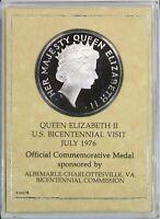 1976 Silver .999 Medal US Queen Elizabeth Visits America Proof by Frank Gasparro