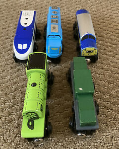Wood Train Maxim Enterprise Wooden Railroad Car with Magnets #38551 Lot of 5