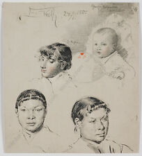 "Eduard Veith (1856-1925) ""Portrait Sketches"", Drawing, 1885"