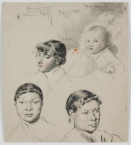 """Eduard Veith (1856-1925) """"Portrait Sketches"""", Drawing, 1885"""