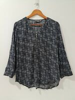 [ SUSSAN ] Womens Abstract Print Navy & White Tunic Top | Size AU14