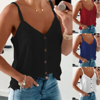Summer Women Casual Sleeveless V Neck Tunic Tank T Shirt Loose Solid Blouse Tops