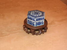 Rare Chinese Tek Sing Blue&White Hexagonal Trinket Box c1822+Nagel Auction cat