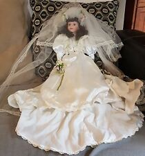 LARGE BRIDE DOLL SATIN DRESS AND LONG VEIL PORCELAIN & CLOTH BODY