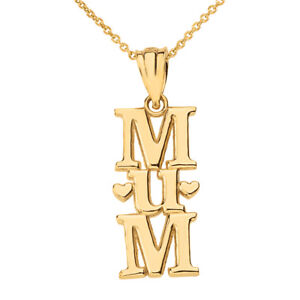 Solid 10k Yellow Gold Vertical Text Mum Hearts Pendant Necklace