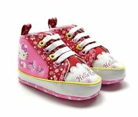 New HELLO KITTY Soft Sole Baby Girl Flower High Top Crib Shoes. Age 3-6 Months