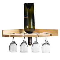 SimpleHouseware 4Bottle Wall Mount Wine Rack Rustic Holder Wood&Pipe Design pine