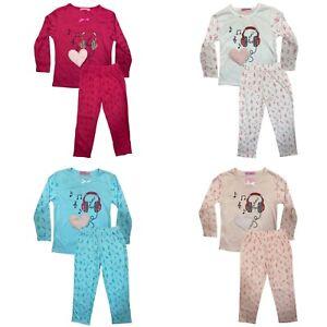 Girls Kids Pyjamas Long Sleeve Top Bottom Set Nightwear Jersey PJs Cotton Music