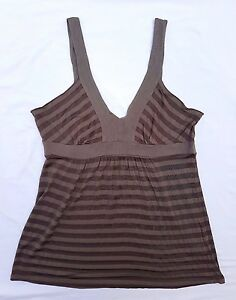 EX CON Decjuba Sz L Singlet Tank Top Blouse Grey Brown Stripe Casual Sleeveless