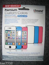 NIP SET OF 3 iPHONE 4 /4S COLOR PROTECTORS WHITE BLUE PINK + CLEANING CLOTH