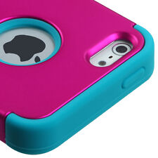 iPhone SE 5S Pink / Teal Blue Hybrid Armor Impact Hard&Soft Rubber Case Cover