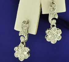 14k Solid White gold Natural Diamond dangling earring  0.30 ct Antique style