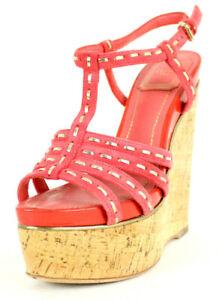 DIOR $630 Coral Suede & Gold ANTICA Cork Platform Wedge Sandals 36