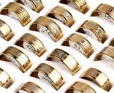 18x/Lot Fashion Silver Stainless Steel Rings Wholesale Bulk Lots Men's Jewelry