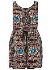 CITY CHIC Maya Princess Shorts Playsuit- Aztec Geometric Black Boho Print - S/16