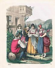 1859 - Kinzigtal Tracht Trachten Schwarzwald costume Lithographie lithograph