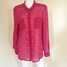 American Eagle Outfitters Womens Long-Sleeve Pink Red & Grey Shirt Sz XL